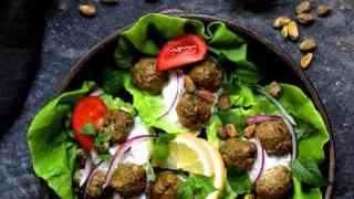 Turkish Turkey Meatball Lettuce Wraps with Tzatziki