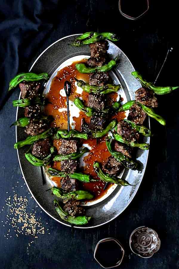 Grilled Japanese Beef and Shishito Pepper Skewers