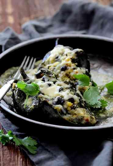 Quinoa Corn and Black Bean Stuffed Poblano Peppers