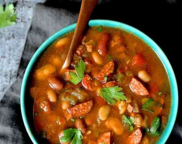 Slow Cooker Cajun 15 Bean Soup with Andouille Ham and Bacon overhead shot