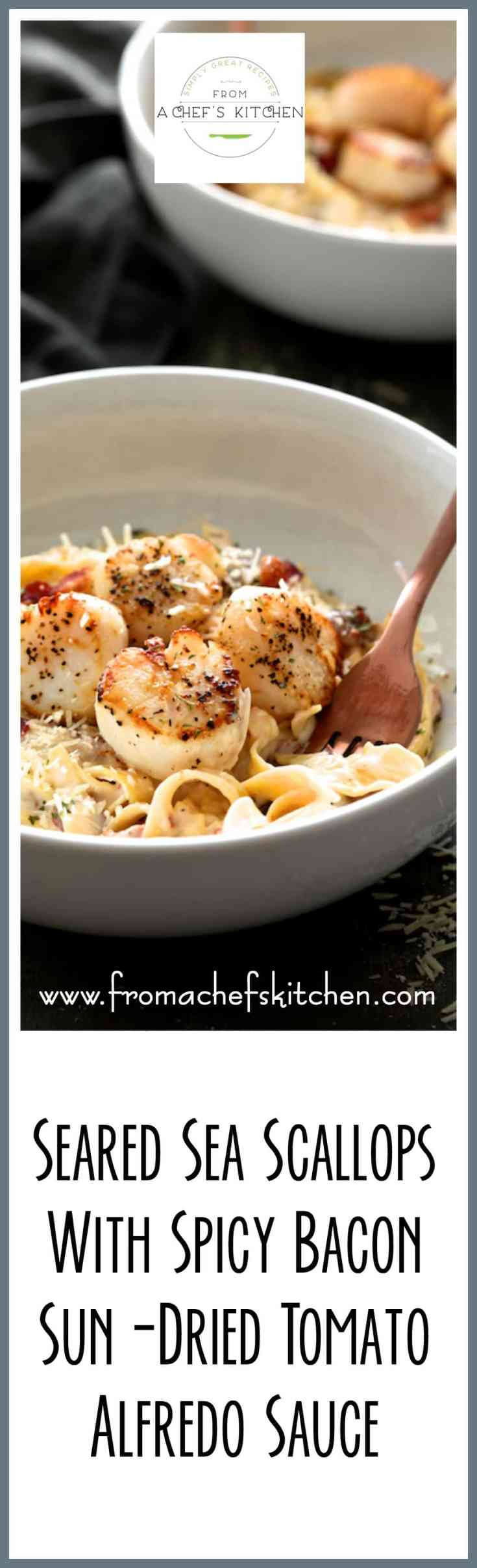 #Ad #Bertolli Organic - Seared Sea Scallops with Spicy Bacon Sun-Dried Tomato Alfredo Sauce is easy and perfect for an Italian-inspired romantic dinner for two! @Bertolli
