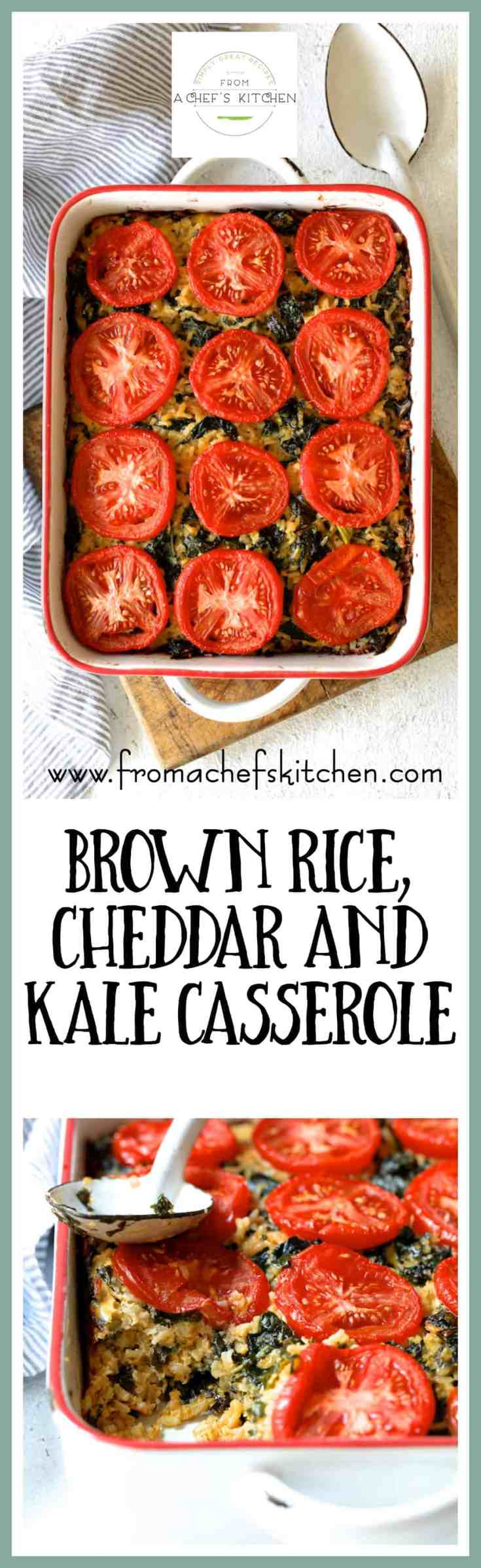 Brown Rice Cheddar and Kale Casserole is perfect meatless comfort food that's also super versatile!  Vary the grains and vary the greens!  #brownrice #cheddar #kale #casserole #vegetarian