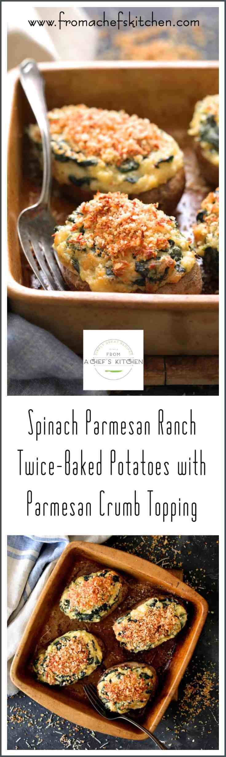 Spinach Parmesan Ranch Twice Baked Potatoes with Parmesan Crumb Topping are pillows of potato perfection!  #spinach #parmesan #ranch #potatoes #twicebakedpotatoes #parmesan