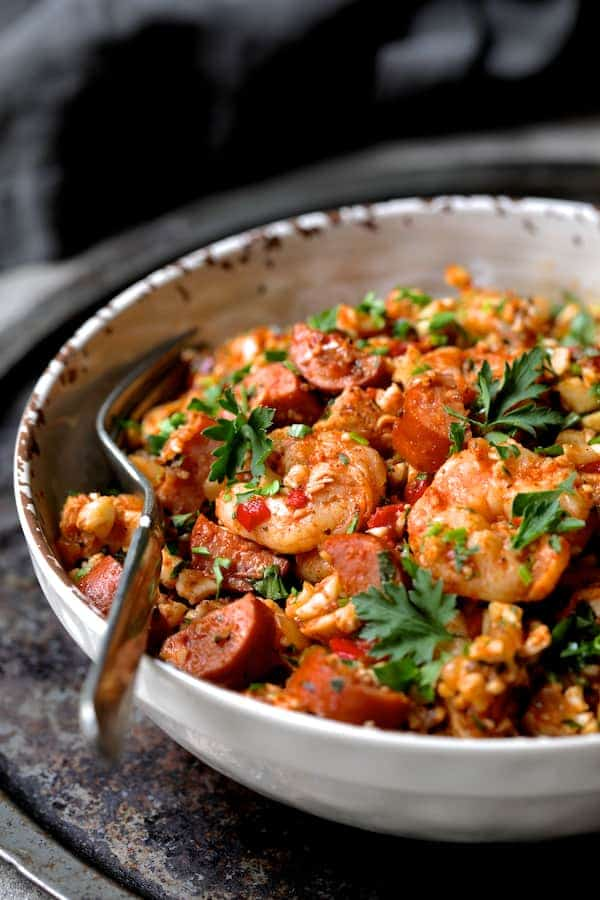 Low Carb Jambalaya with Chicken, Shrimp and Sausage