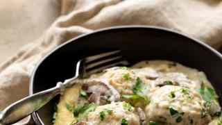 Chicken Meatballs Marsala with Baked Parmesan Polenta