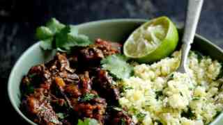 Slow Cooker Beef Short Ribs Barbacoa with Cilantro Lime Cauliflower Rice