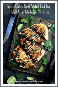 Chipotle Chicken, Sweet Potato and Black Bean Flatbread Pizzas with Avocado Sour Cream are spicy, healthy-ish and delicious!  It's how to get your Mexican food fix and pizza fix in one!