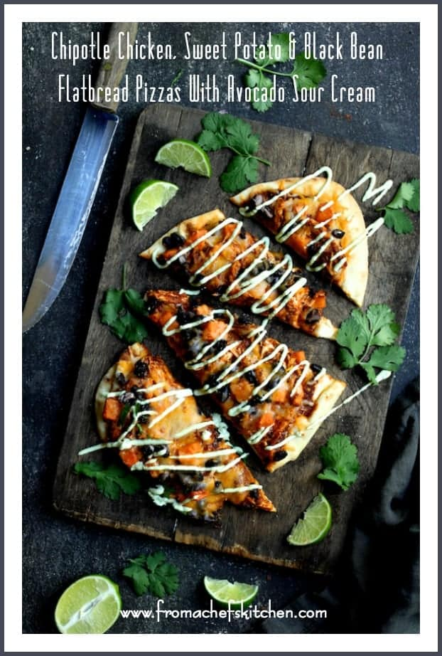 Chipotle Chicken, Sweet Potato and Black Bean Flatbread Pizzas with Avocado Sour Cream are spicy, healthy-ish and delicious!  It's how to get your Mexican food fix and pizza fix in one! #pizza #chicken #sweetpotato #blackbean #avocado