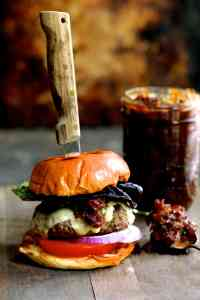 Grilled Burgers with Smoked Gouda and Bacon Tomato Jam