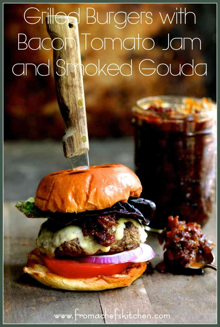 Fire up the grill for Father's Day! Made with The Fresh Market's made-in-store Gourmet Burgers, Grilled Burgers with Bacon – Tomato Jam and Smoked Gouda is a treat your dad will love!