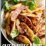 Oven Fries with Spicy Pesto Aioli make the perfect summer side dish for burgers, steaks or anything else you're grilling! #ovenfries #potatoes #basil #pesto #jalapeno #aioli