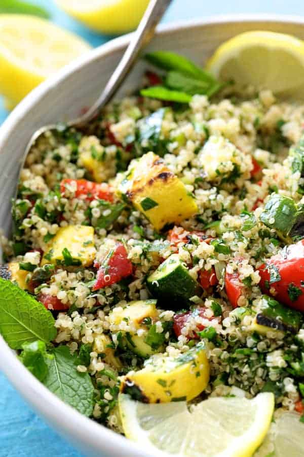 Quinoa Tabbouleh with Grilled Vegetables - Close-up of salad in a white bowl