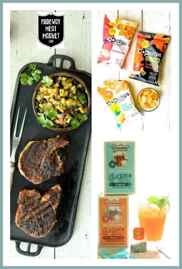 Collage of all the products for Southwestern Spiced Grilled Pork Chops with Plum Jalapeno Salsa