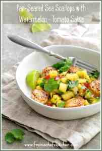Pan-Seared Sea Scallops with [Yellow] Watermelon-TomatoSalsa is the perfect summer meal that requires little to no cooking and it's ready in under 30 minutes! #watermelon #scallops #tomato #salsa #seafood
