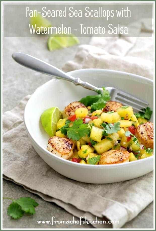Pan-Seared Sea Scallops with [Yellow] Watermelon-Tomato Salsa is the perfect summer meal that requires little to no cooking and it's ready in under 30 minutes!