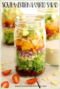 Southwestern Layered Salad is an easy, versatile salad. Perfect for dinner or when divided up and reassembled in a Mason jar, a great grab-and-go lunch! #salad #southwestern #masonjarsalad