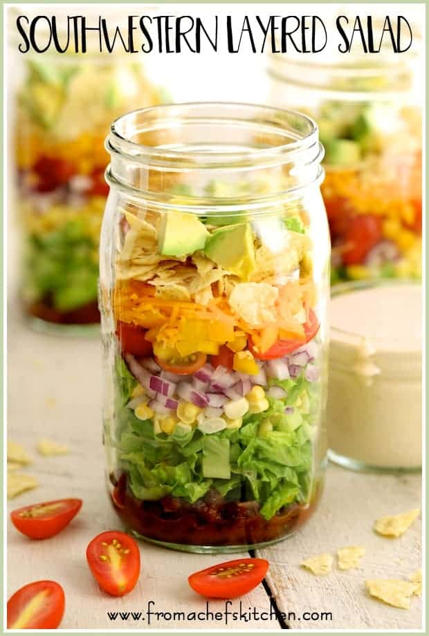 Southwestern Layered Salad is an easy, versatile salad you can make ahead of time. It's perfect for dinner, a party, potluck or when assembled slightly differently than the recipe in a Mason jar, a great grab-and-go lunch!