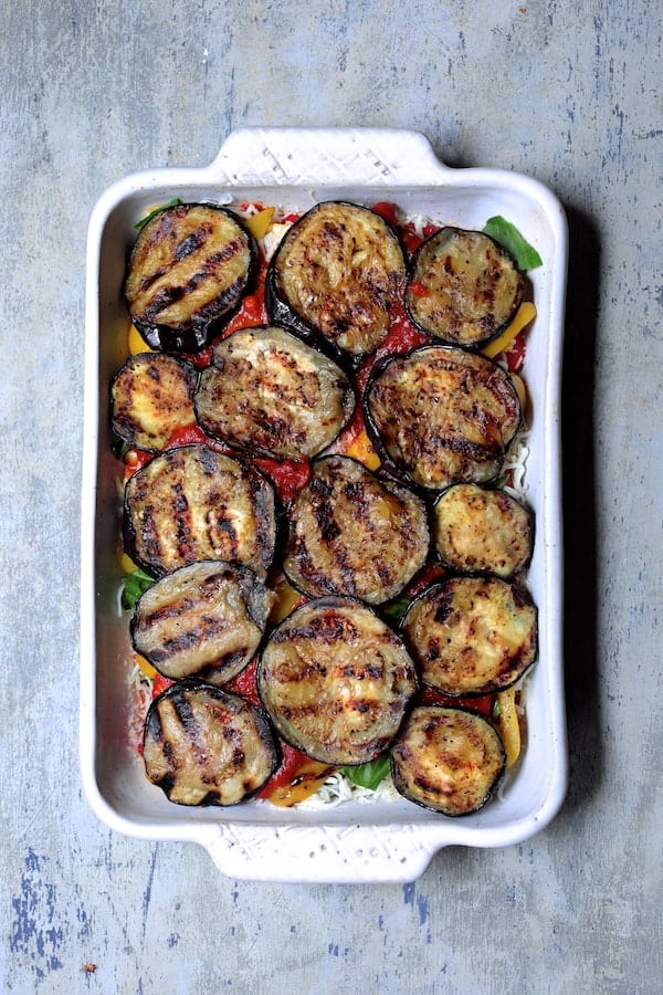 Italian Summer Vegetable Casserole - Final vegetable layer of eggplant