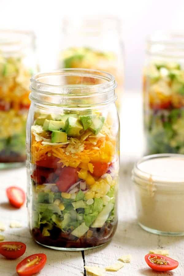 Southwest Layered Salad in Mason jar
