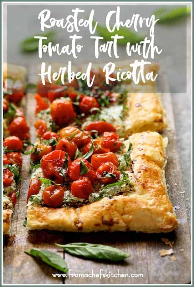 Roasted Cherry Tomato Tart with Herbed Ricotta is a lovely, elegant way to enjoy the late summer bounty of fresh herbs and cherry tomatoes!
