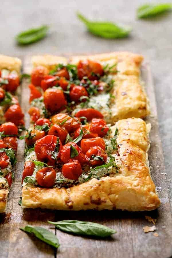 Roasted Cherry Tomato Tart with Herbed Ricotta - Close-up shot of tart looking straight on