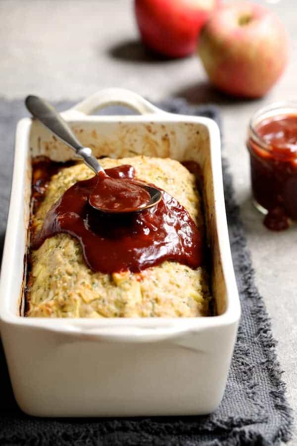 Turkey Apple Meat Loaf with Balsamic Ketchup Glaze - Photo of meat loaf with some of the glaze spread over the top