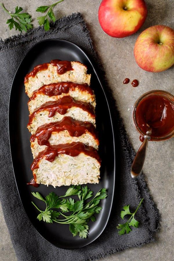 Turkey Apple Meat Loaf with Balsamic Ketchup Glaze - Overhead shot of sliced meatloaf