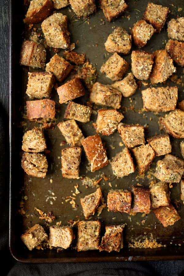 Whole-Grain Croutons with Thyme Rosemary and Parmesan