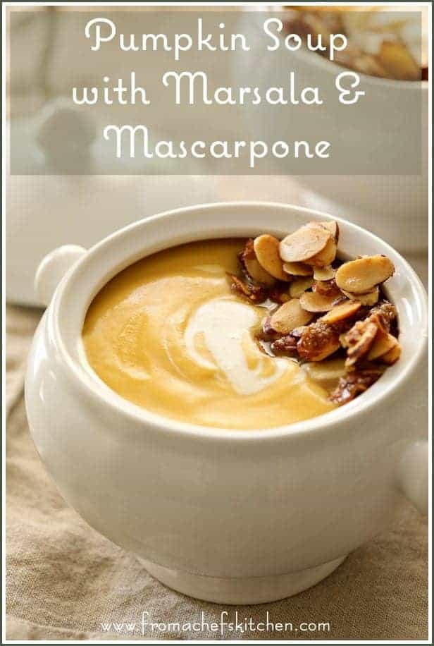Pumpkin Soup with Marsala and Mascarpone with a lovely, toasty, buttery almond topping is the perfect elegant starter to all your holiday meals!