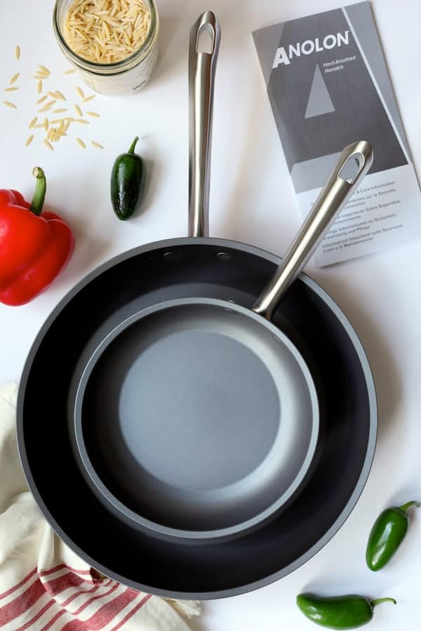 Southwestern Chicken Orzo and Black Bean Skillet - Overhead photo of Anolon skillets