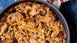 Southwestern Chicken Orzo and Black Bean Skillet