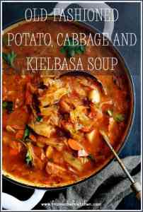 Old-Fashioned Potato Cabbage and Kielbasa Soup is the perfect hearty meal for a winter night! With lots of vegetables, potatoes and kielbasa in a spicy, tomatoey broth, it's sure to warm you down to your toes!