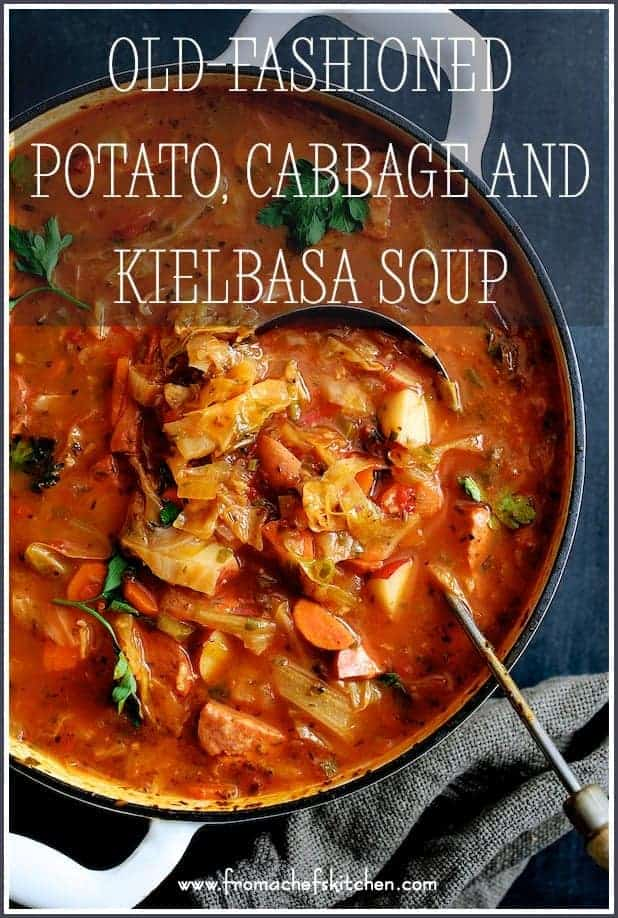 Old-Fashioned Potato Cabbage and Kielbasa Soup is the perfect hearty meal for a winter night! With lots of vegetables, potatoes and kielbasa in a spicy, tomatoey broth, it's sure to warm you down to your toes! #potato #cabbage #kielbasa #soup #stew #vegetable