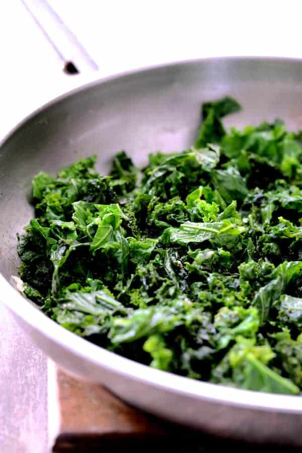 Sauteed Kale in Skillet