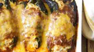 Chicken, Brown Rice and Cheese-Stuffed Poblanos