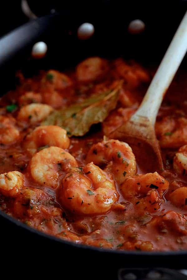 The Best Shrimp Creole - Close-up shot of shrimp in skillet