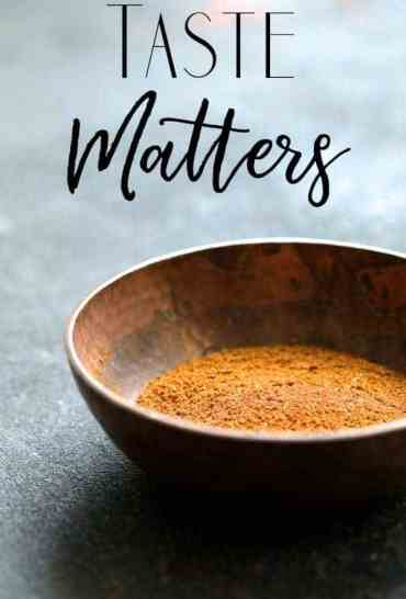 Taste Matters Cover with copper bowl filled with spices