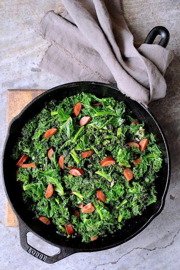 Spicy Sauteed Kale with Andouille Sausage