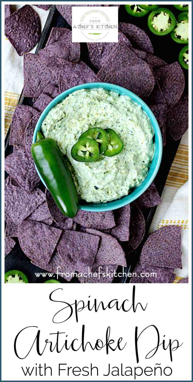 Spinach Artichoke Dip with Fresh Jalapeño is a twist on a classic party favorite! It's the perfect pairing for Mission Organics® Blue Corn Tortilla Chips! #ad #sponsored #MissionOrganics
