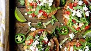 Chicken Tostadas with Black Bean Guacamole and Salsa Fresca