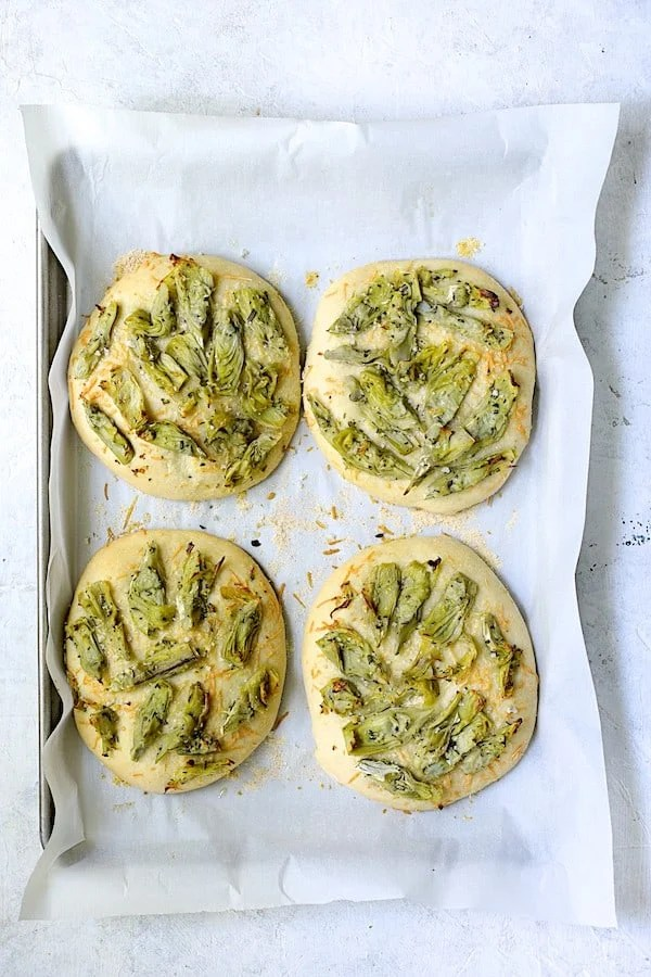 Artichoke Focaccia with Rosemary - Overhead shot still on baking sheet after baking