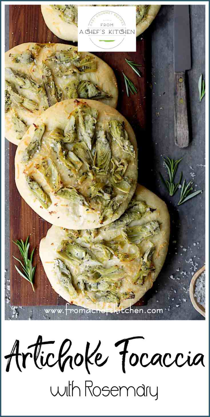Artichoke Focaccia with Rosemary is easy to make and will rival any focaccia from an Italian baker. Great for dipping into a fruity extra-virgin olive oil!  #artichoke #focaccia #rosemary #bread #Italian