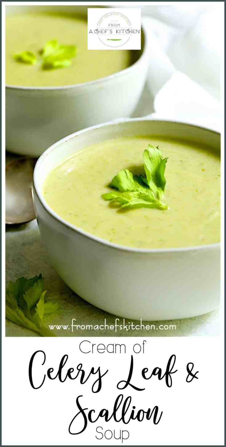 Cream of Celery Leaf and Scallion Soup makes the perfect starter for an elegant spring dinner party. With a delicate onion flavor, it's a tasty way to use up those celery leaves and tops!  #celery #celerysoup #scallion #greenonion #soup