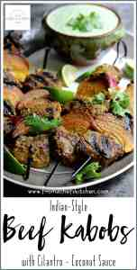 Pinterest image for Indian-Style Beef Kabobs with Cilantro - Coconut Sauce