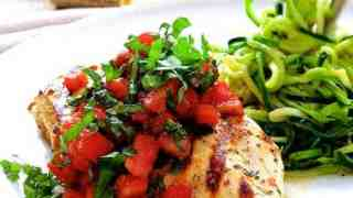 Bruschetta Chicken with Zucchini Noodles