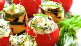 Cheese and Artichoke Stuffed Tomatoes and Grilled Zucchini