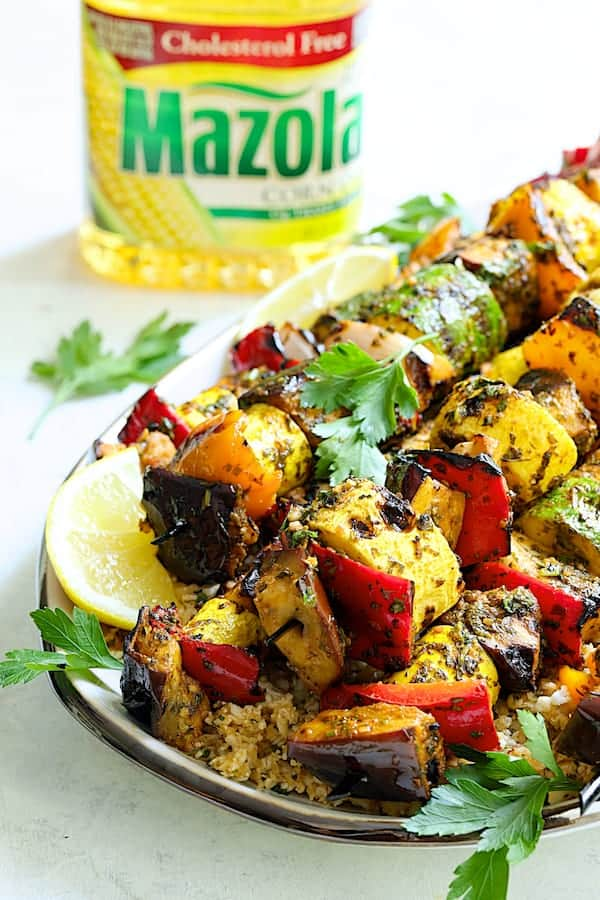 Grilled Vegetable Kabobs with Charmoula