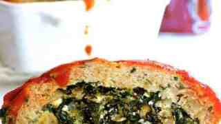 Spinach Feta Stuffed Turkey Meatloaf
