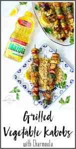 Pinterest Image for Grilled Vegetable Kabobs with Charmoula