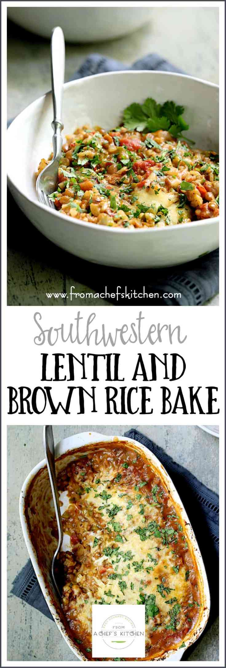 Southwestern Lentil and Brown Rice Bake is cheesy, delicious meatless comfort food even a carnivore will love and is super easy to prepare!  Simply combine everything in a baking dish, pop it in the oven and let it bake away while you do other things. #vegetarian #southwestern #Mexican #lentil #brownrice